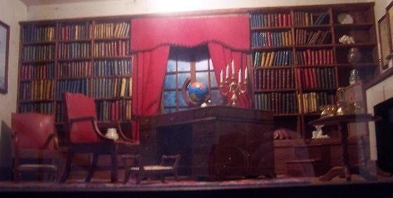 Closeup of the dollhouse library