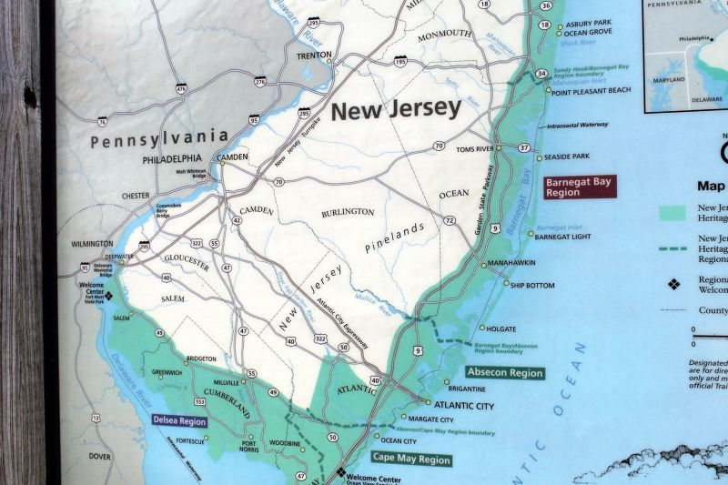 Map pointing out Abeescon and Barnegat Regions