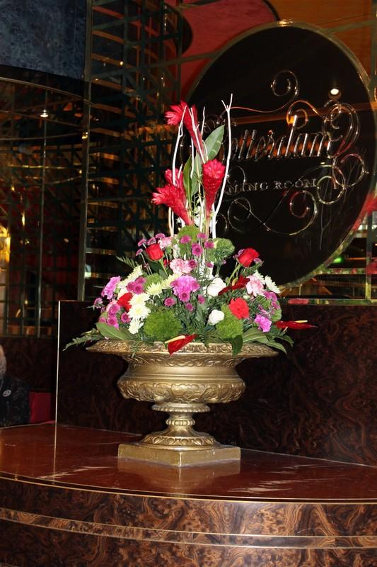Dining room flower arrangement