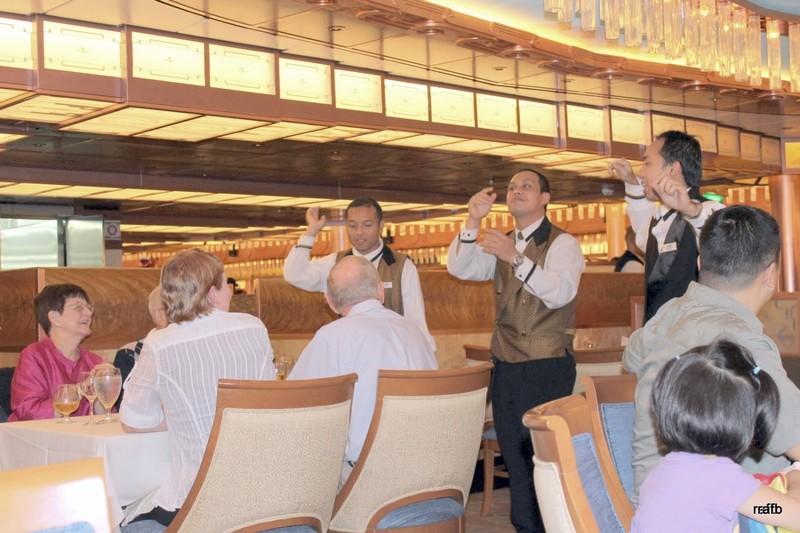 Waiters starting to dance