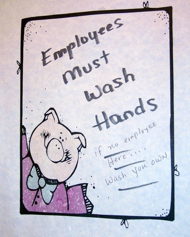 Sign in the washroom