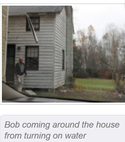 Bob coming around the house after turning on the water