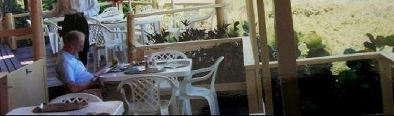 Bob at Breakfast on the porch - Barbados