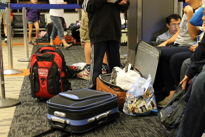Repacking carry - ons in the LAX airport