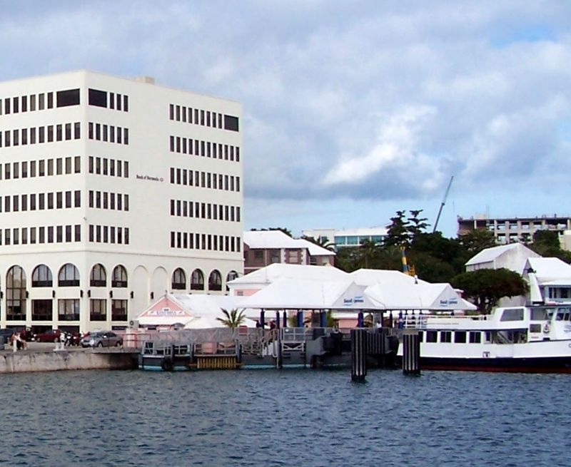 The Bank of Bermuda and the Ferry terminal from the ferry