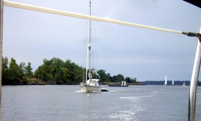 Bay River and Boats behind us