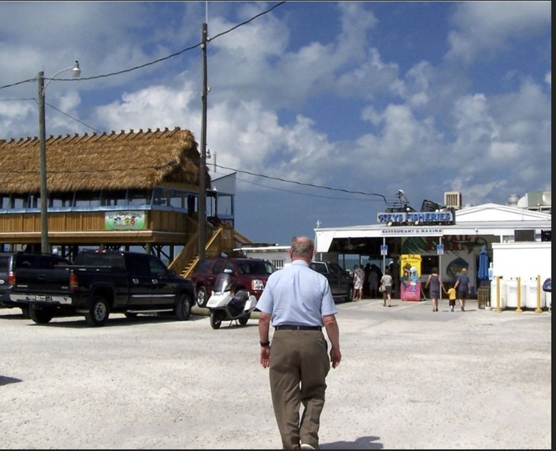 Bob walking in to Key's Fisheries for lunch in 2011