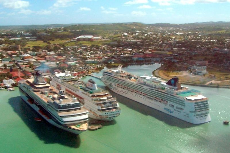 Cruise ships from a helicopter
