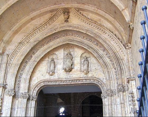 Cathedral entrance with pigeon netting