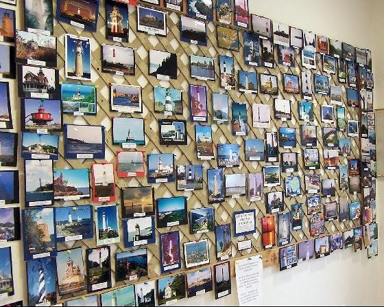 Wall of lighthouse photos