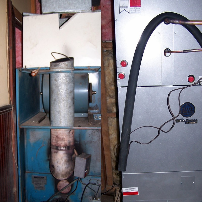 Left old furnace that burned oil.  Right new geothermal heat pump