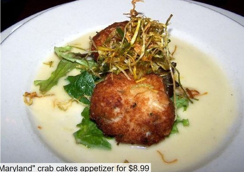 "2 ""Maryland"" crab cakes appetizer for $8.99"