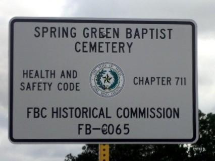 Spring Green Baptist Cemetery sign