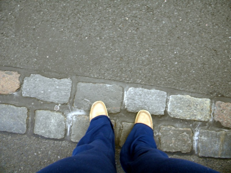 Granddaughter's feet on the old Berlin wall site