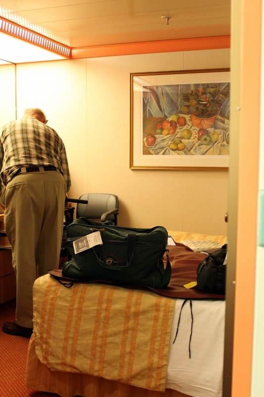 looking from the bathroom to the cabin right after embarkation