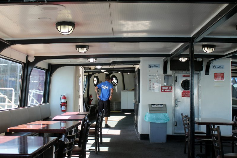 Inside of the harbor tour boat