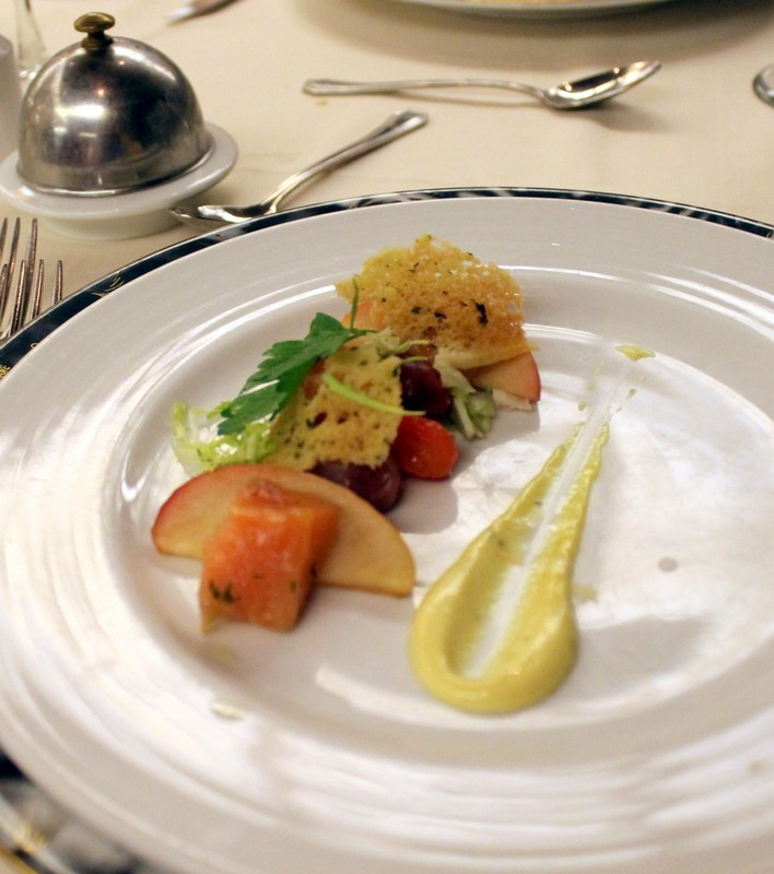 Cured salmon and candied tomato, stewed apples and grapes with dill cream
