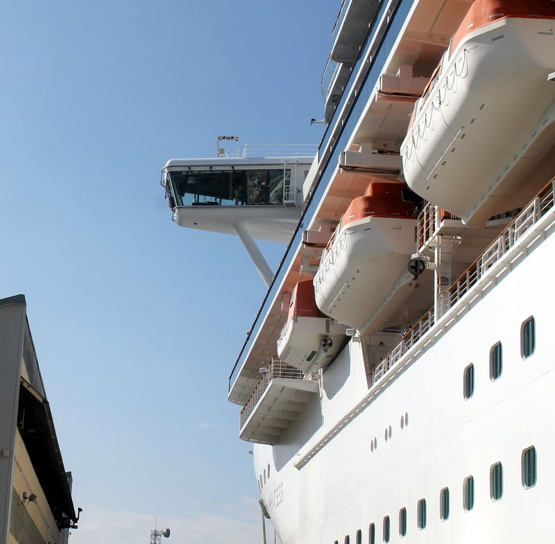 Looking up at the ship from the dock