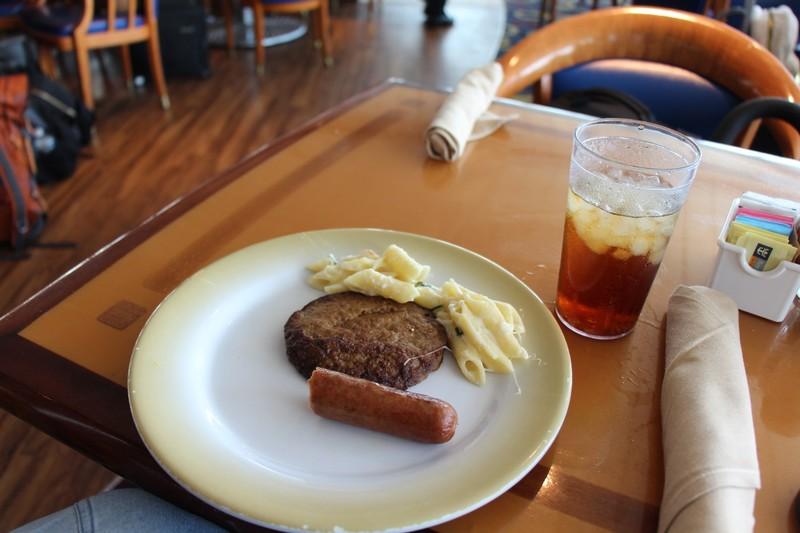 Hotdog, hamburger and pasta for lunch