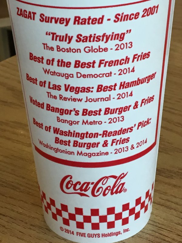 Five Guy's drink cup