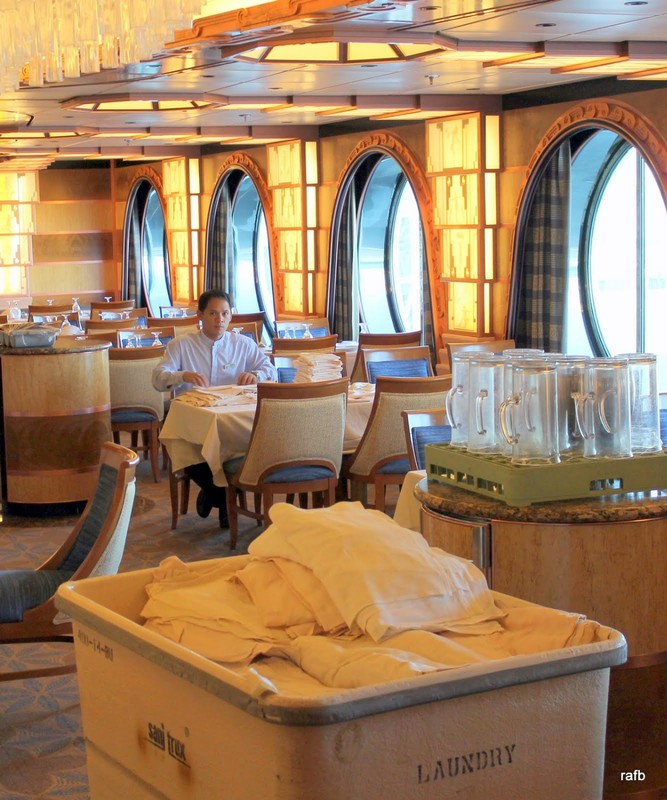 Inside the Captains Club - napkin folding at lunch