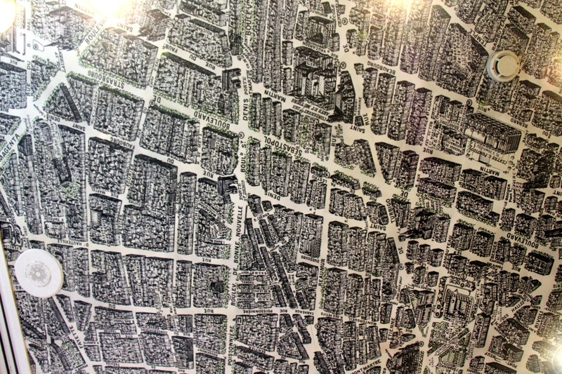 Map of Paris on the ceiling of the hotel restaurant