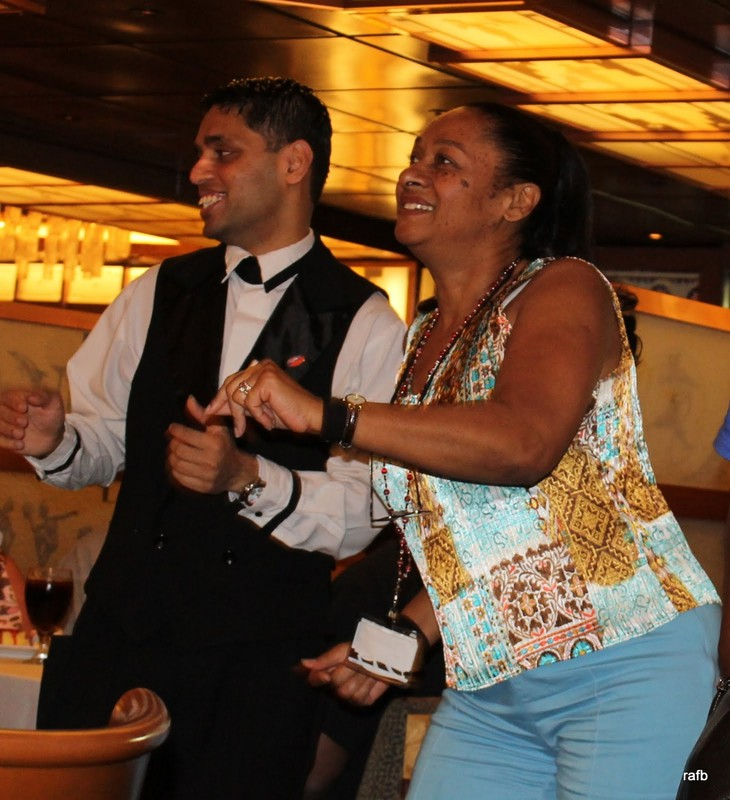 Gladys dancing with the waiter
