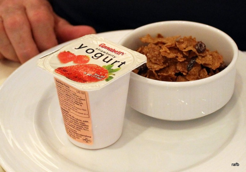 Bob's cereal and yogurt - he has skim milk for the cereal, bacon and tea every morning, except sometimes he had prunes instead of yogurt