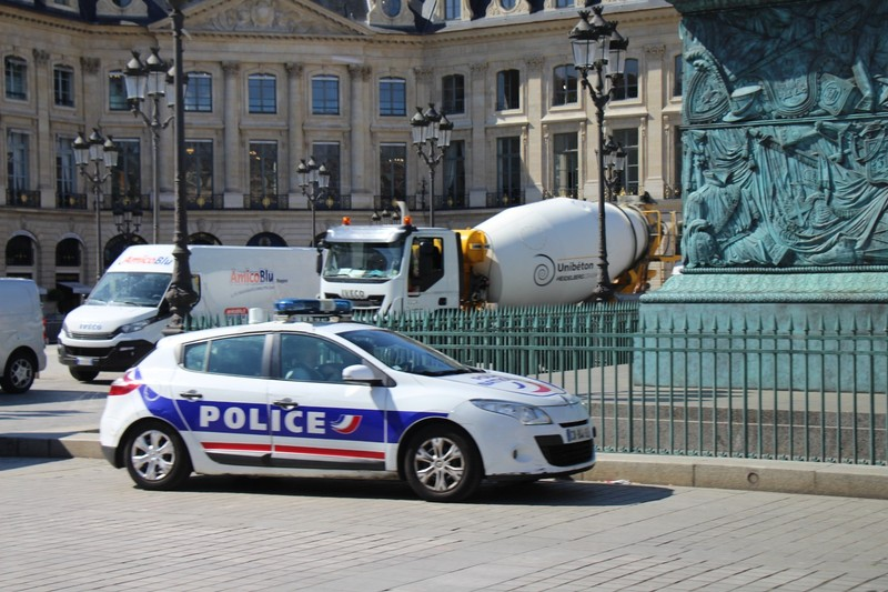 Police car and cement truck