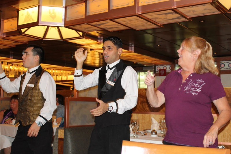 Brenda dancing with the waiters
