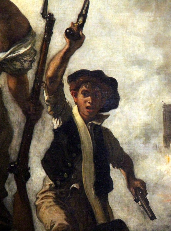 The revolutionary urban worker, as exemplified by the boy holding pistols.