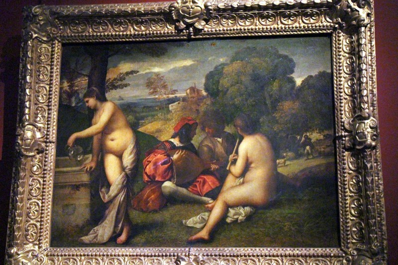 The Pastoral Concert (ca. 1510) by Giorgione or Titian inspiration for Manet 1862 painting Le Déjeuner sur l'herbe which caused such a sensation