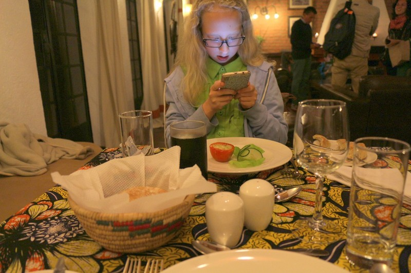 Granddaughter with appetizer