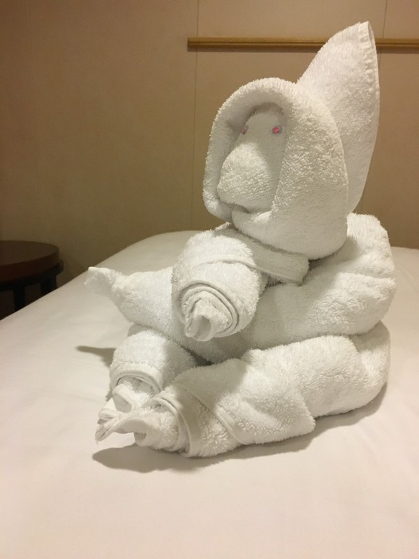 Monkey? towel animal alerting us to the time change