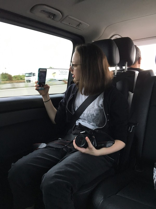 Taking photos on the way from the airport