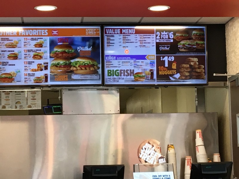 Menu at Burger King