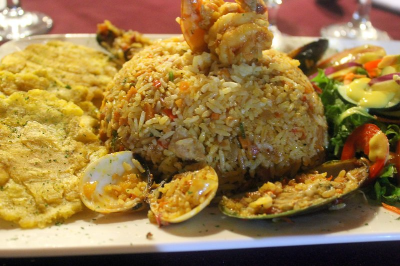 Seafood rice, which had some mussels and clams and shrimp and a huge mound of rice with bits of fish and shrimp and calamari in it