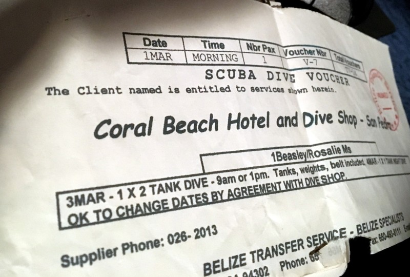 Coral Beach Hotel and Dive shop voucher