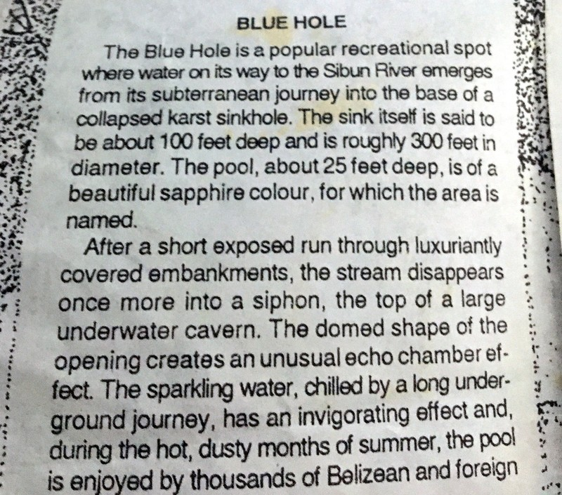 Blue Hole section of the brochure