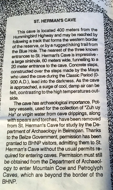 St Herman's Cave part of the brochure