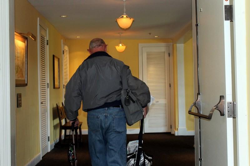 Bob walking down the hall ahead of me