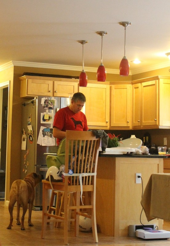 Rocky and Joe (granddaughter's husband) in the kitchen