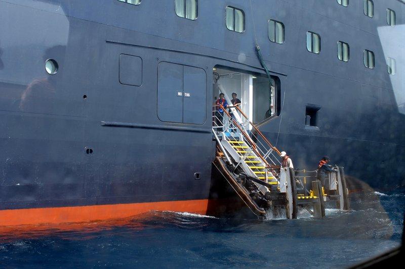 Tender landing on the ship
