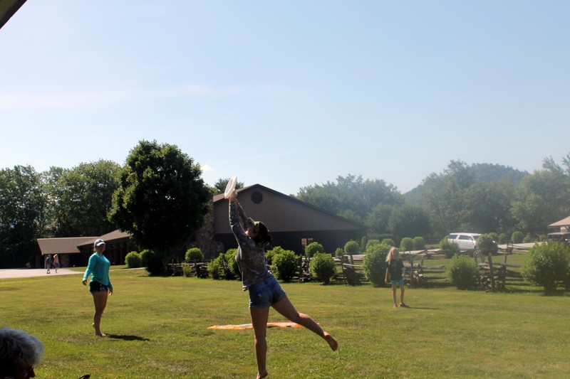 Playing Frisbee - the girl catching is the friend of my granddaughter