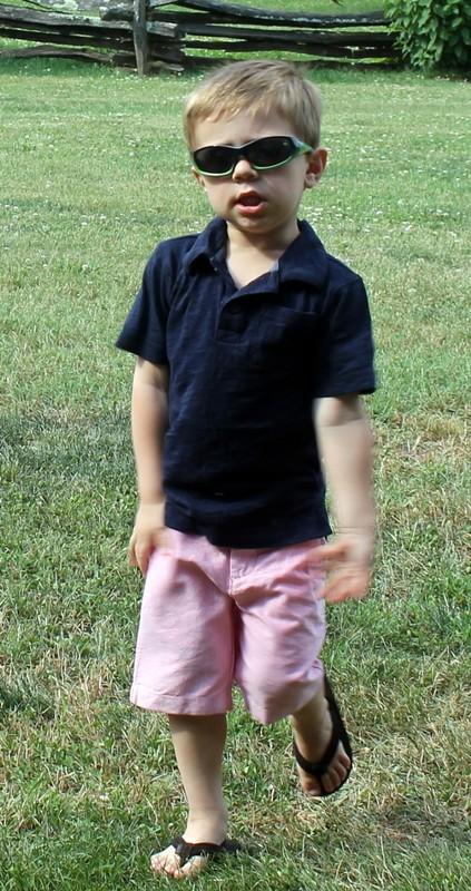 Great grandson sporting cool sunglasses