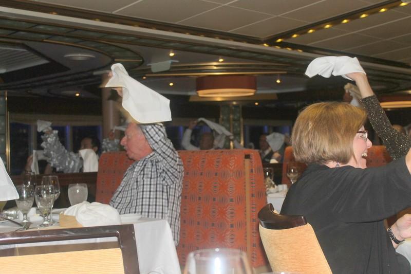 Dancing and napkin waving