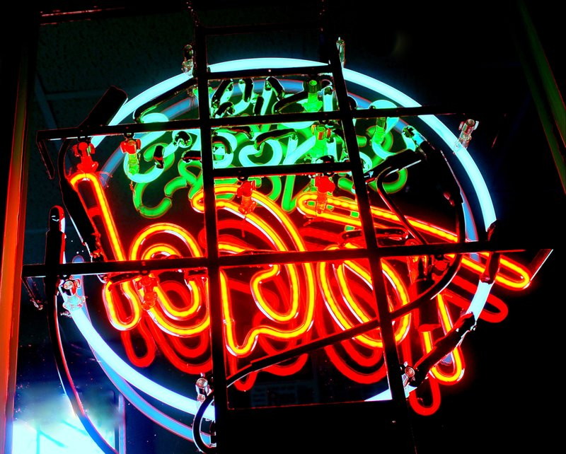 Sticky Fingers neon sign from inside