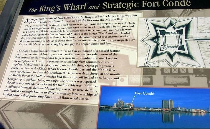Sign about the wharf that extended from the fort into the river