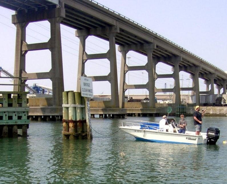 Fishing under the Morehead City fixed bridge