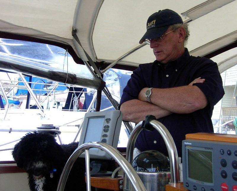 Our friend and his dog on our boat
